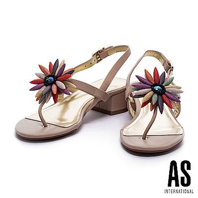涼鞋 AS 華麗繽紛花瓣點綴T字羊皮粗跟涼鞋-米