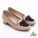 A.S.O 3E舒活寬楦 真皮拼接菱格紋蝴蝶結飾低跟鞋 卡其