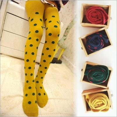 日韓卡通兒童純棉襪保暖波點連身襪 -兩雙入