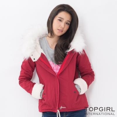 TOP-GIRL-毛毛帽造型夾克-火熱紅