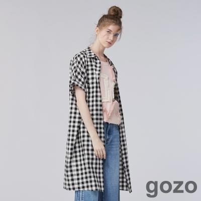 gozo個性寬版長版格紋口袋襯衫洋裝(三色)-動態show
