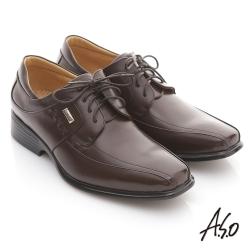 A.S.O 頂級氣墊 全真皮金屬飾釦綁帶紳士鞋 咖啡