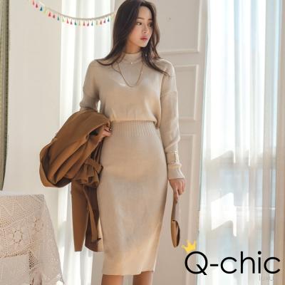 正韓 垂墜坑條收腰長袖針織洋裝 (共五色)-Q-chic