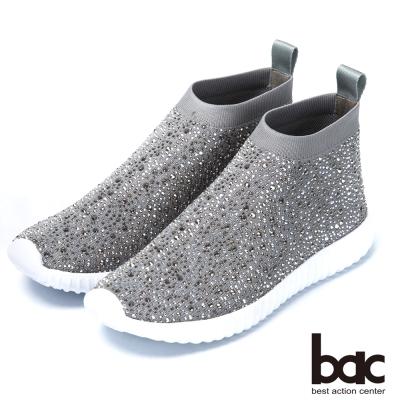 bac時尚休閒 飛織燙鑽厚底休閒鞋-灰