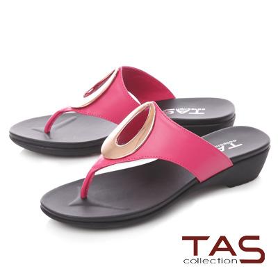 TAS 金屬圓飾寬帶夾腳拖鞋-蜜桃粉