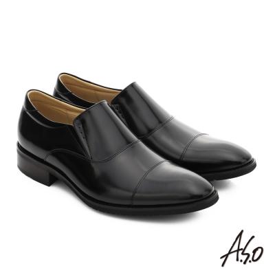 A.S.O 菁英通勤 真皮直套式奈米紳士鞋 黑色