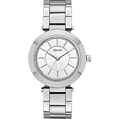 DKNY Stanhope 名模風采晶鑽時尚腕錶-銀/36mm
