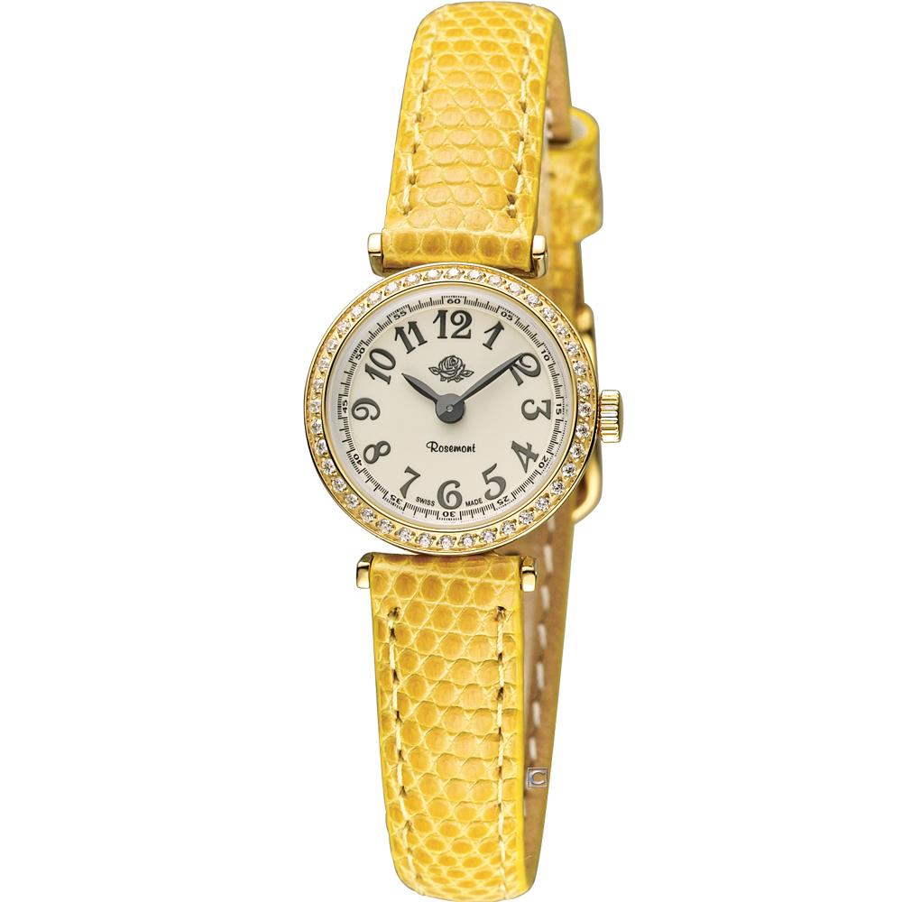 玫瑰錶 Rosemont 茶香玫瑰系列超薄時尚錶-白x金/20mm