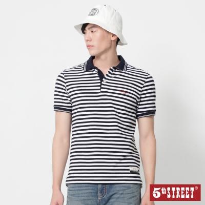 5th STREET 條紋短袖POLO衫-男-丈青