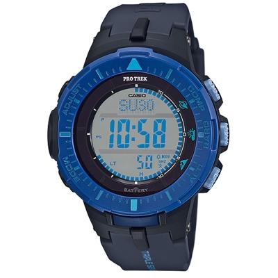 PROTREK原野時尚風格戶外活動高亮度照明登山錶(PRG-300-2)藍框x黑/47mm