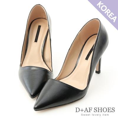 D+AF 都會氣質.素面斜口尖頭高跟鞋*黑