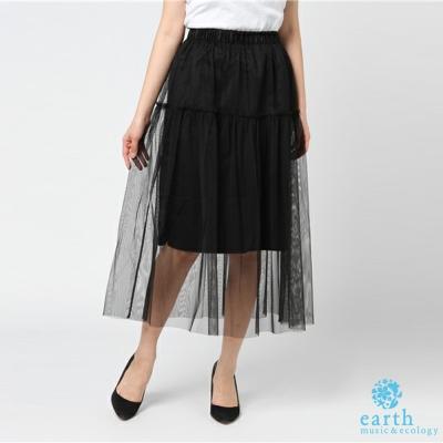 earth music 2WAY分層式透膚薄紗長裙