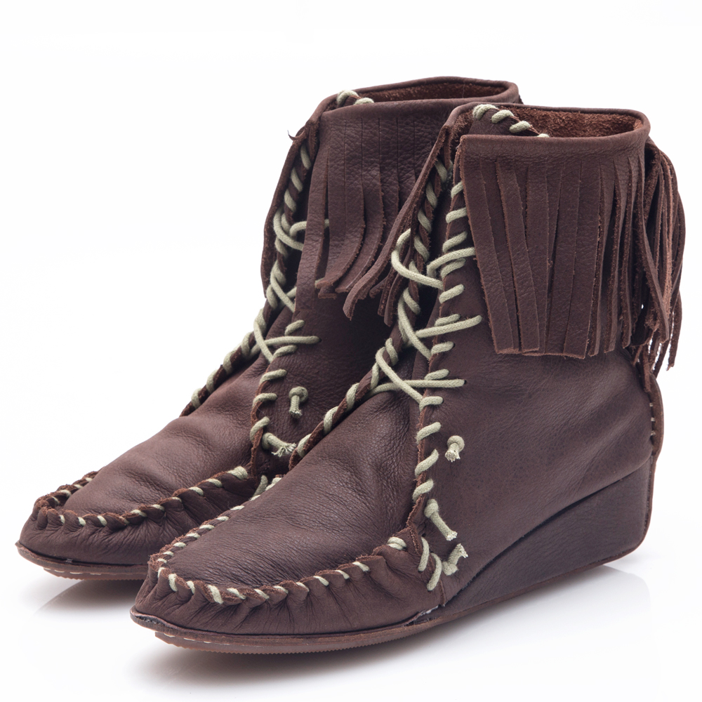 G.Ms. 牛皮波西米亞繞繩流蘇綁帶短楔型跟靴-咖啡