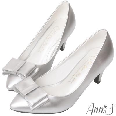 Ann'S氣質典雅-立體大方蝴蝶結尖頭跟鞋-銀
