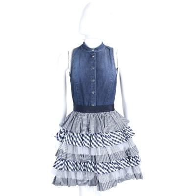 ELISABETTA FRANCHI 單寧藍色兩件式蛋糕裙