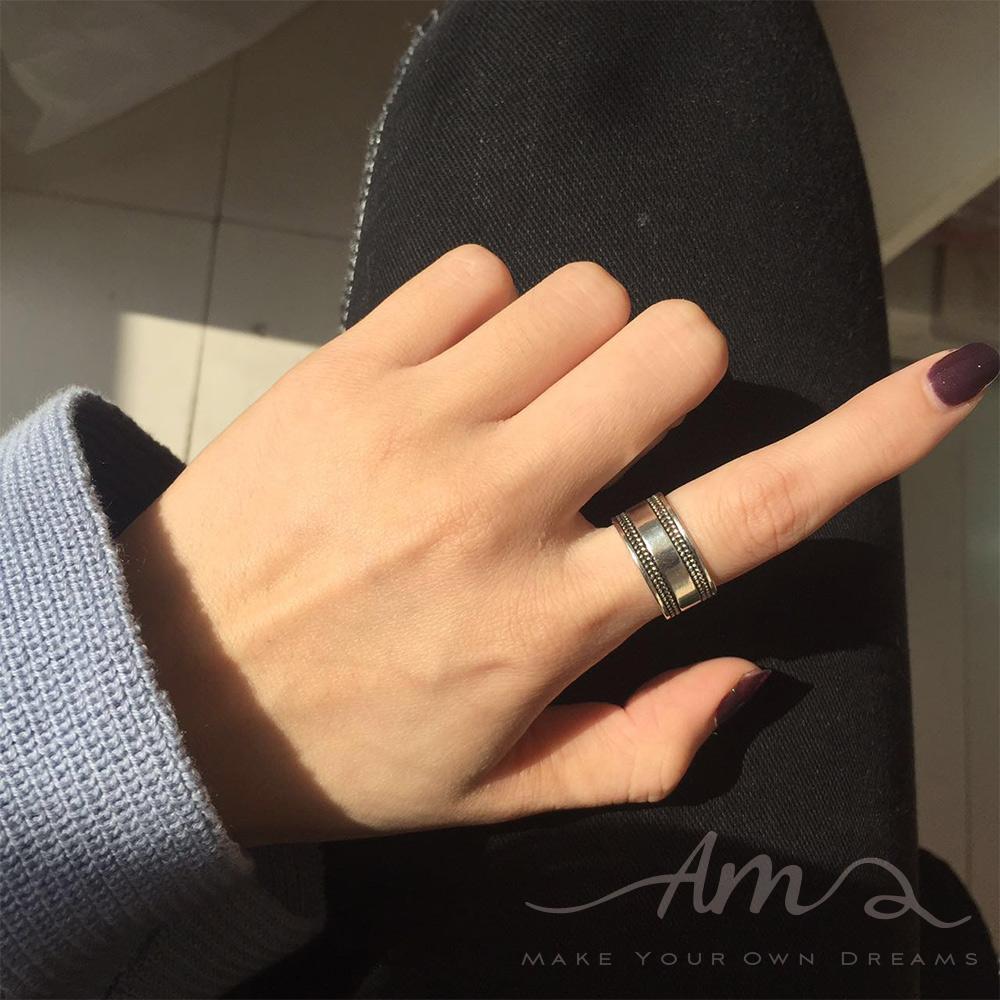 AM輕飾品寬版個性純銀戒指開口戒活圍戒