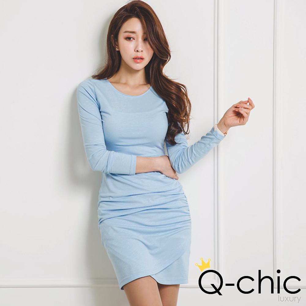 正韓 抓皺交疊裙襬合身長袖洋裝 (共五色)-Q-chic