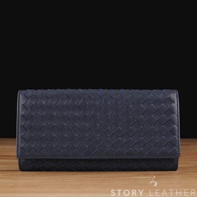 STORY 皮套王 - 小羊皮編織長夾 Style 90744 小羊皮藍現貨