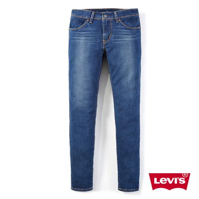 Levis-Revel-湛藍微貓鬚刷白緊身窄管丹寧