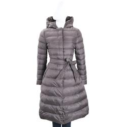 MARELLA 深灰色連帽衍縫綁帶羽絨外套