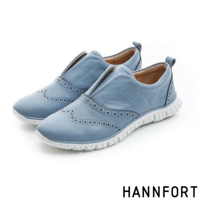 HANNFORT ZERO GRAVITY套入式真皮牛津氣墊鞋-女-悠閒藍