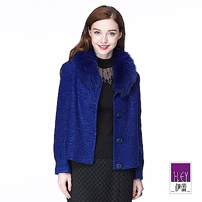 ILEY伊蕾 優雅鑲蔥輕奢毛領外套(黑/藍)