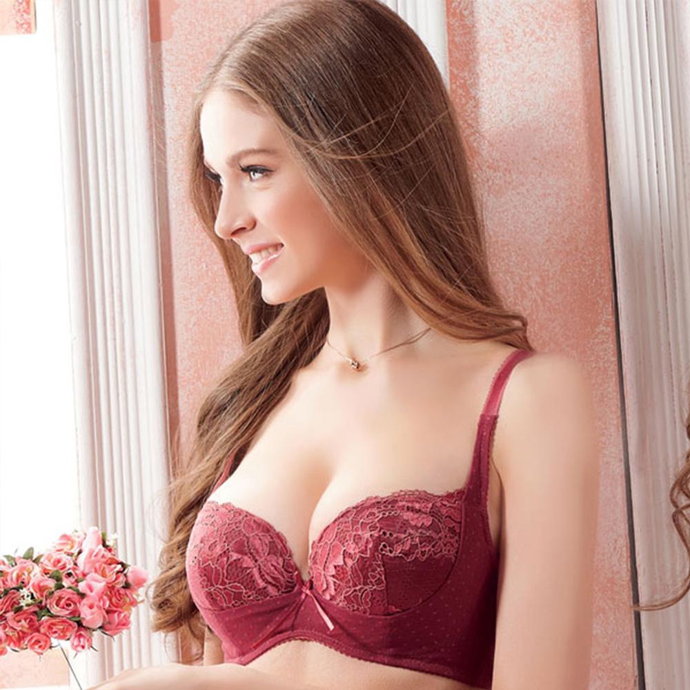 羅絲美 點點心語3/4剪接款B-D罩杯內衣 (誘人紅)