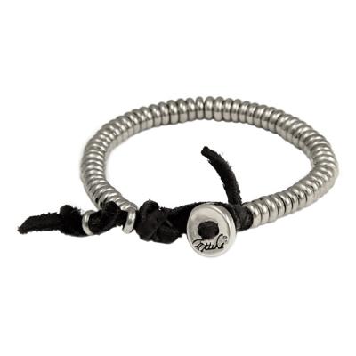 Ettika 美國品牌 銀圈個性環 黑皮革鈕扣 招財開運手鍊