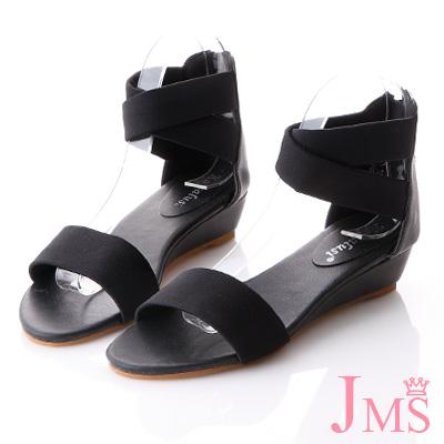 JMS-日系輕羅馬簡約一字帶環裸楔型涼鞋-黑色