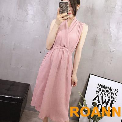 純色V領抽繩無袖洋裝 (共五色)-ROANN
