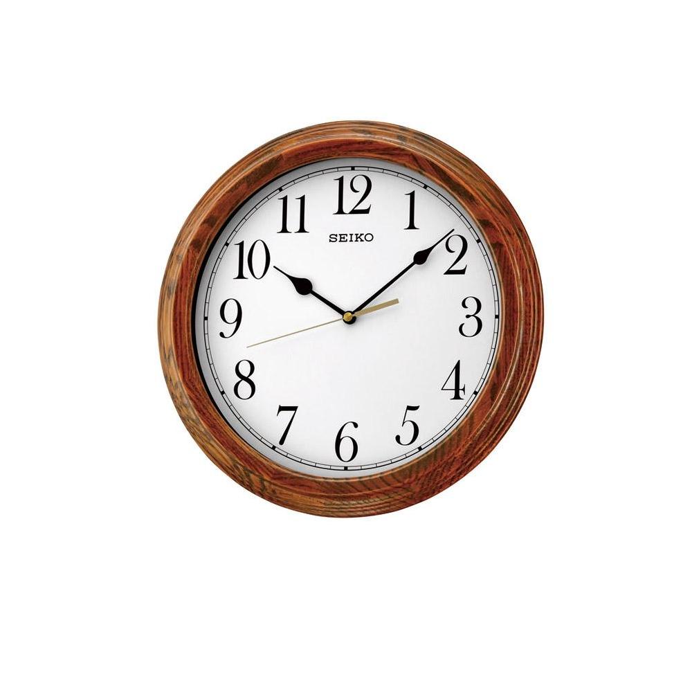 SEIKO 精工 木質外殼 滑動式秒針 靜音掛鐘(QXA528B)-白/33cm