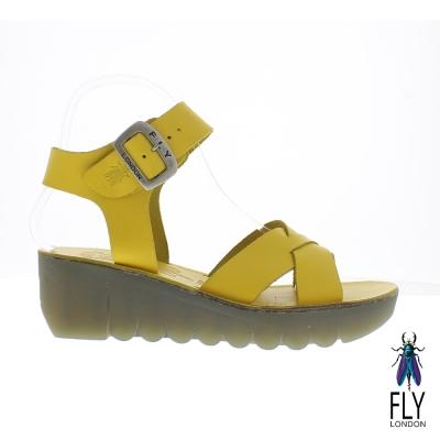 Fly London(女) Yeri 全彩交叉線踝扣真皮造型楔型涼鞋 - 檸黃