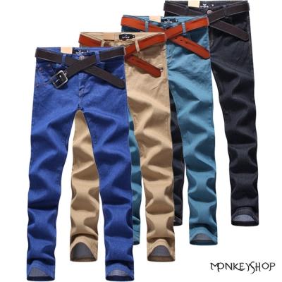 小猴子的賣場 韓版素色皮標口袋單寧牛仔彈性休閒長褲-4色
