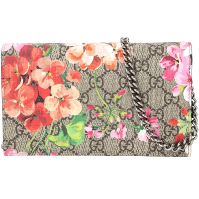 GUCCI Blooms GG Supreme花朵系列手拿鍊帶包深粉色