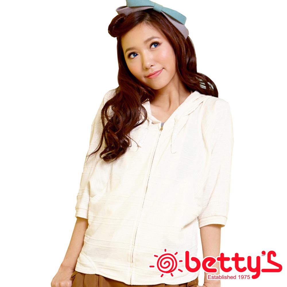 betty's貝蒂思 清新亮眼連帽織花飛鼠袖罩衫(優米白)