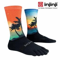 【Injinji】TRAIL野跑避震吸排五趾中筒襪-棕櫚/橘