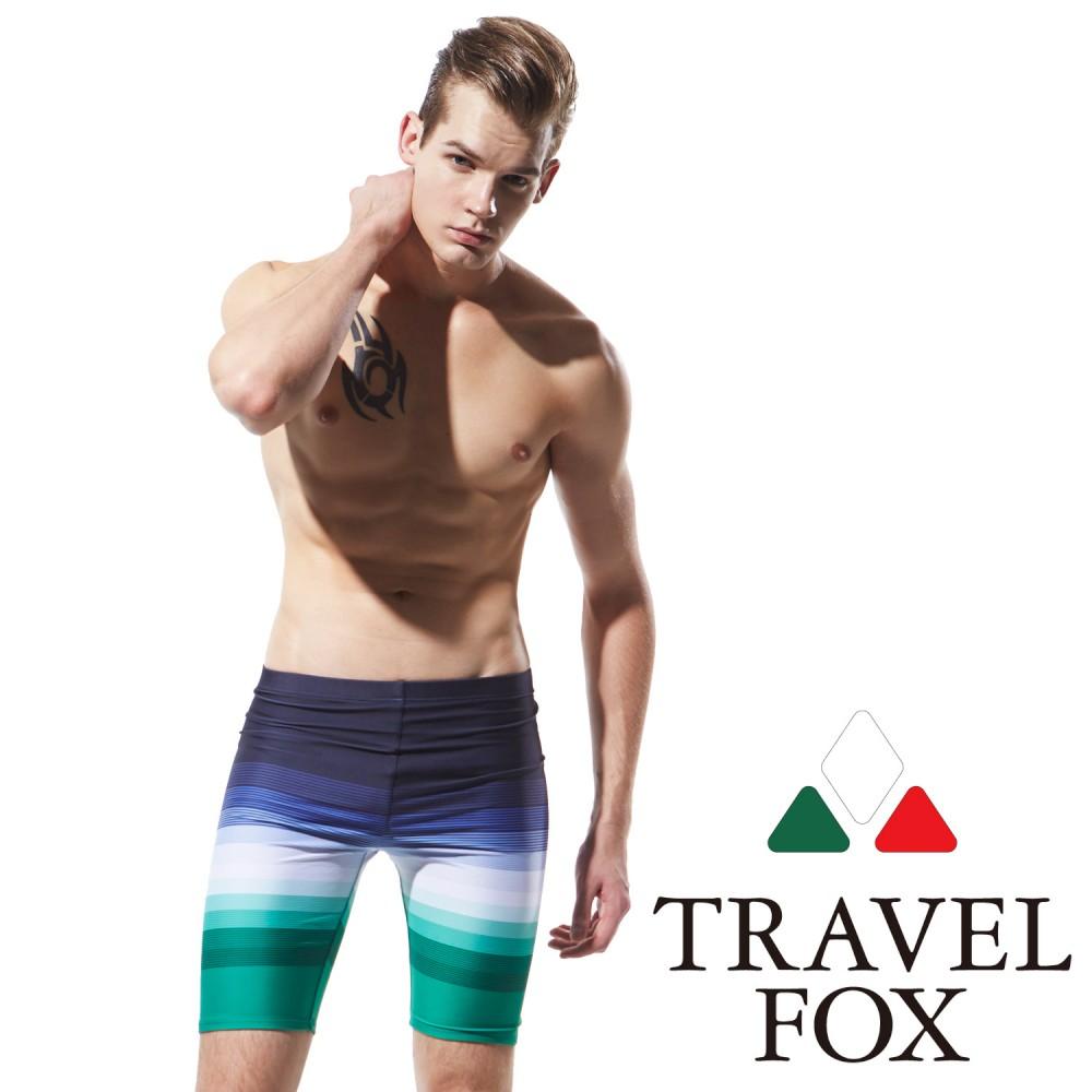 TRAVELFOX 旅狐 男泳褲 七分 藍綠白漸層