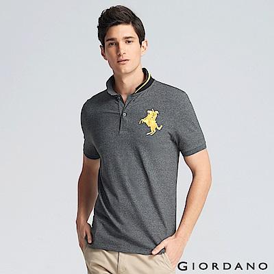 GIORDANO 男裝拿破崙立體刺繡彈力萊卡短袖POLO衫-11 雪花深灰