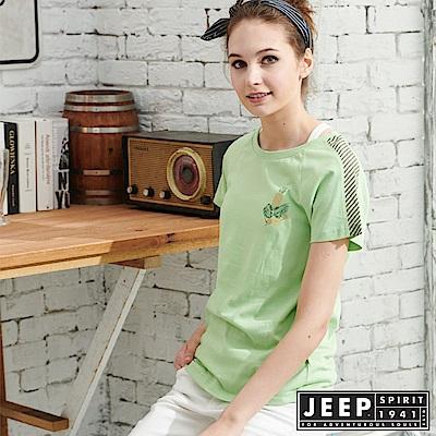 JEEP女裝 拼接圓領T恤-綠色