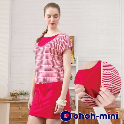 ohoh-mini歐歐咪妮 孕婦裝 運動風條紋連袖連身洋裝