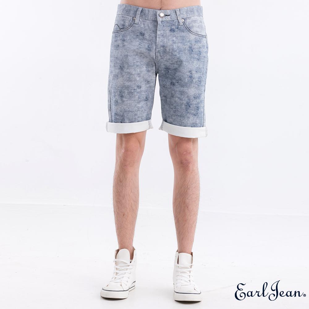 Earl Jean 3D印染雪花短褲-淺藍-男