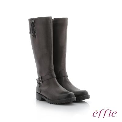 effie 個性美型 防潑水麂皮直筒靴 灰色