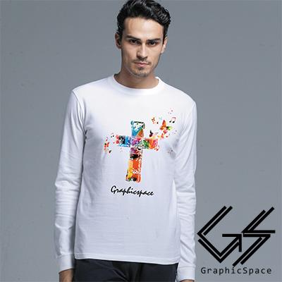 繽紛蝴蝶十字架磨毛水洗長袖T恤 (共三色)-GraphicSpace