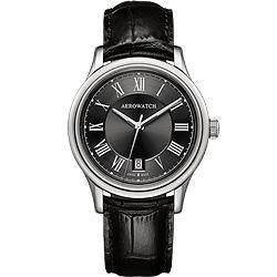AEROWATCH 羅馬簡約時尚腕錶-黑/40mm