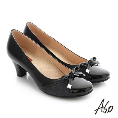 A.S.O 舒適通勤 全真皮蝴蝶結飾釦奈米中跟鞋 黑色