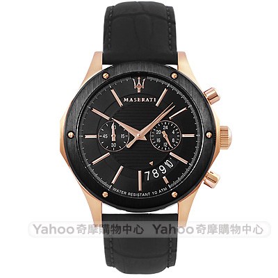 MASERATI 瑪莎拉蒂CIRCUITO經典雙環計時手錶-黑x玫瑰金/41mm