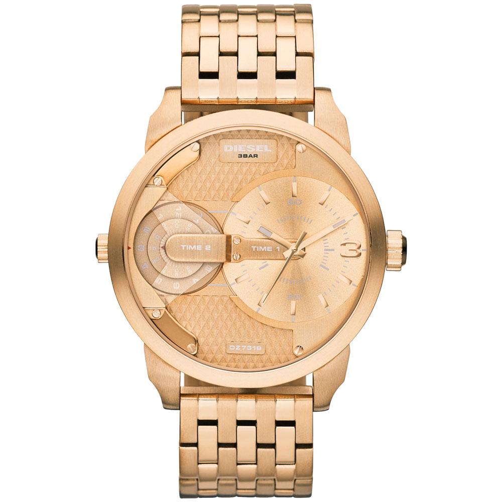 DIESEL 航行者二地時間個性時尚腕錶-玫瑰金/46mm