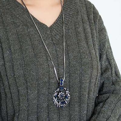 梨花HaNA 韓國藍鑽復古品味全鑲鑽長項鍊