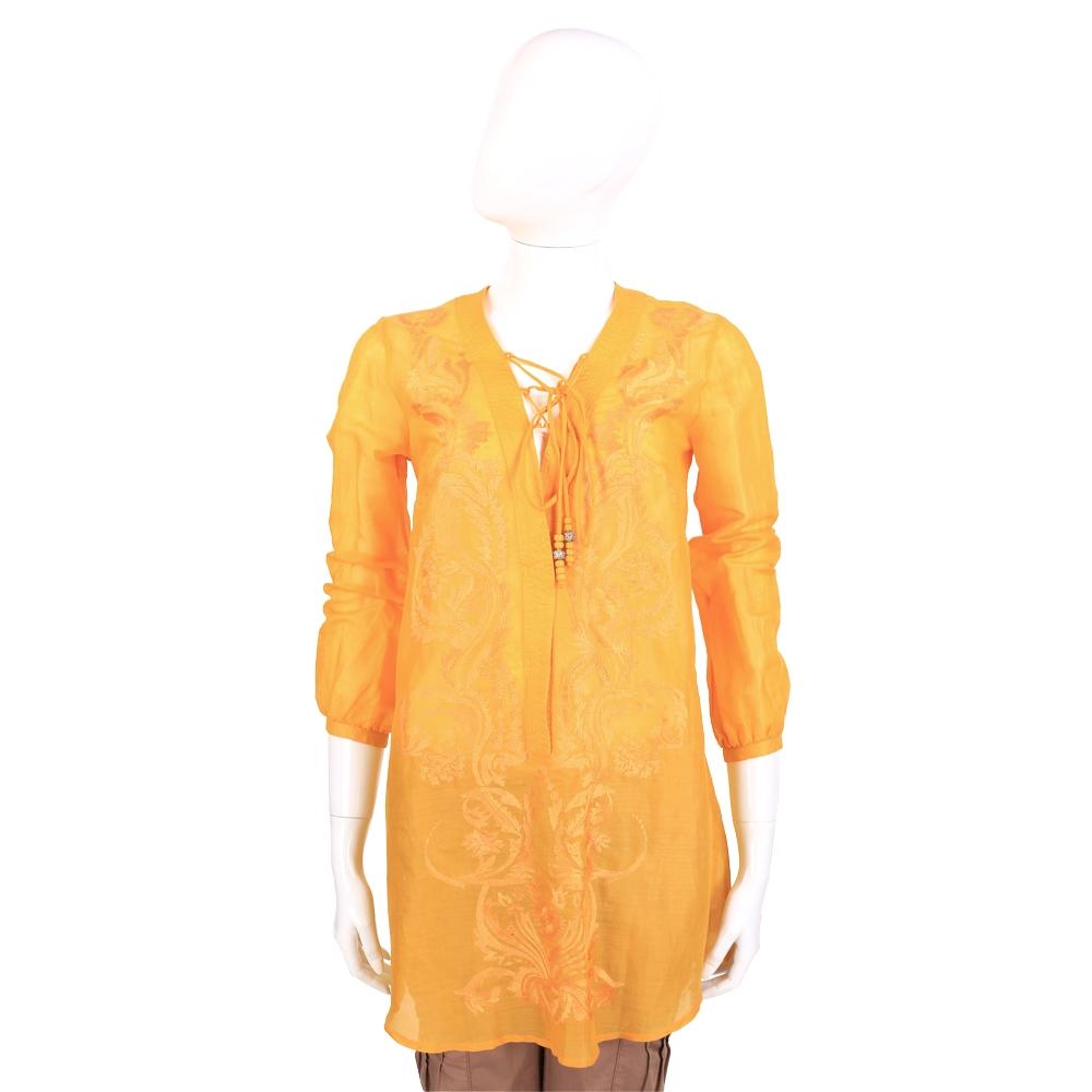 SCERVINO 黃色刺繡圖騰長版上衣