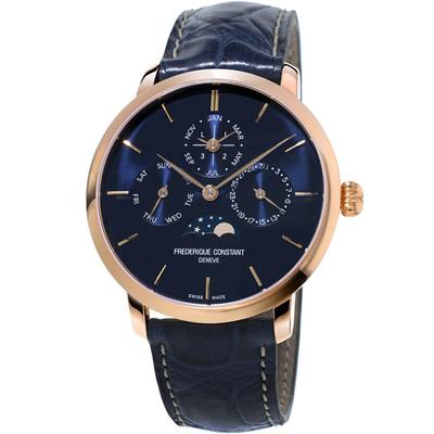 康斯登 CONSTANT Manufacture系列超薄萬年曆腕錶-藍色/42mm